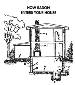 Labelled layout of house showing possible entry points of Radon